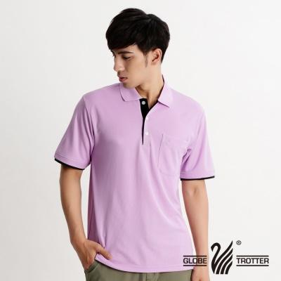 【開館慶9折】遊遍天下-MIT台灣製男款抗UV吸濕排汗機能POLO衫-淺紫