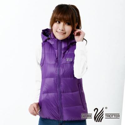 遊遍天下-中性款JIS90%羽絨連帽防風防潑水羽絨背心-深紫