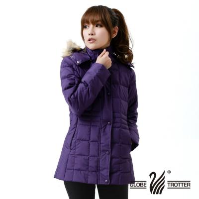 遊遍天下- 女款JIS90%羽絨極暖防風防潑水中長版羽絨外套-紫色
