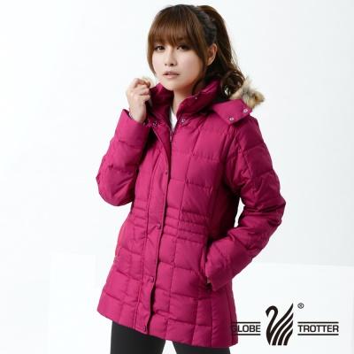 遊遍天下- 女款JIS90%羽絨極暖防風防潑水中長版羽絨外套-玫紅