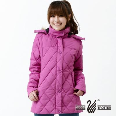 遊遍天下- 女款JIS90%羽絨極暖防風防潑水中長版菱格羽絨外套-紫紅