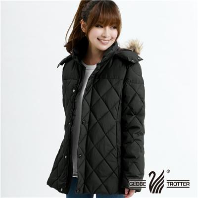 遊遍天下- 女款JIS90%羽絨極暖防風防潑水中長版菱格羽絨外套-黑色