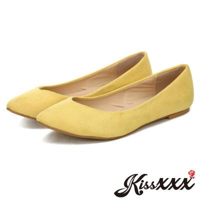 KissXXX-時尚心機V型淺口舒適平底休閒鞋 黃