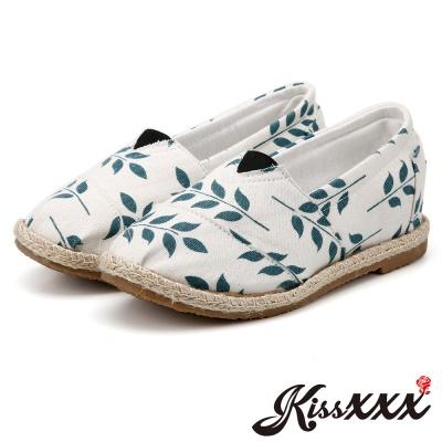 KissXXX-花葉藤蔓美腿效果5CM內增高帆布休閒鞋 米