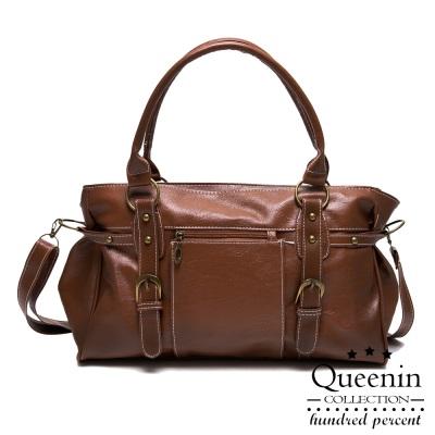 DF Queenin 日系復古雙皮飾仿皮手提斜背2way包