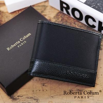 Roberta Colum-雅痞時尚系牛皮款左右翻8卡1照短夾共2色