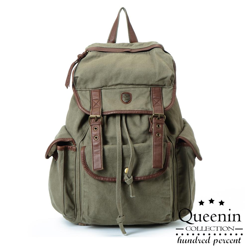 DF Queenin - 女力觉醒帅气帆布款后背包-共3色