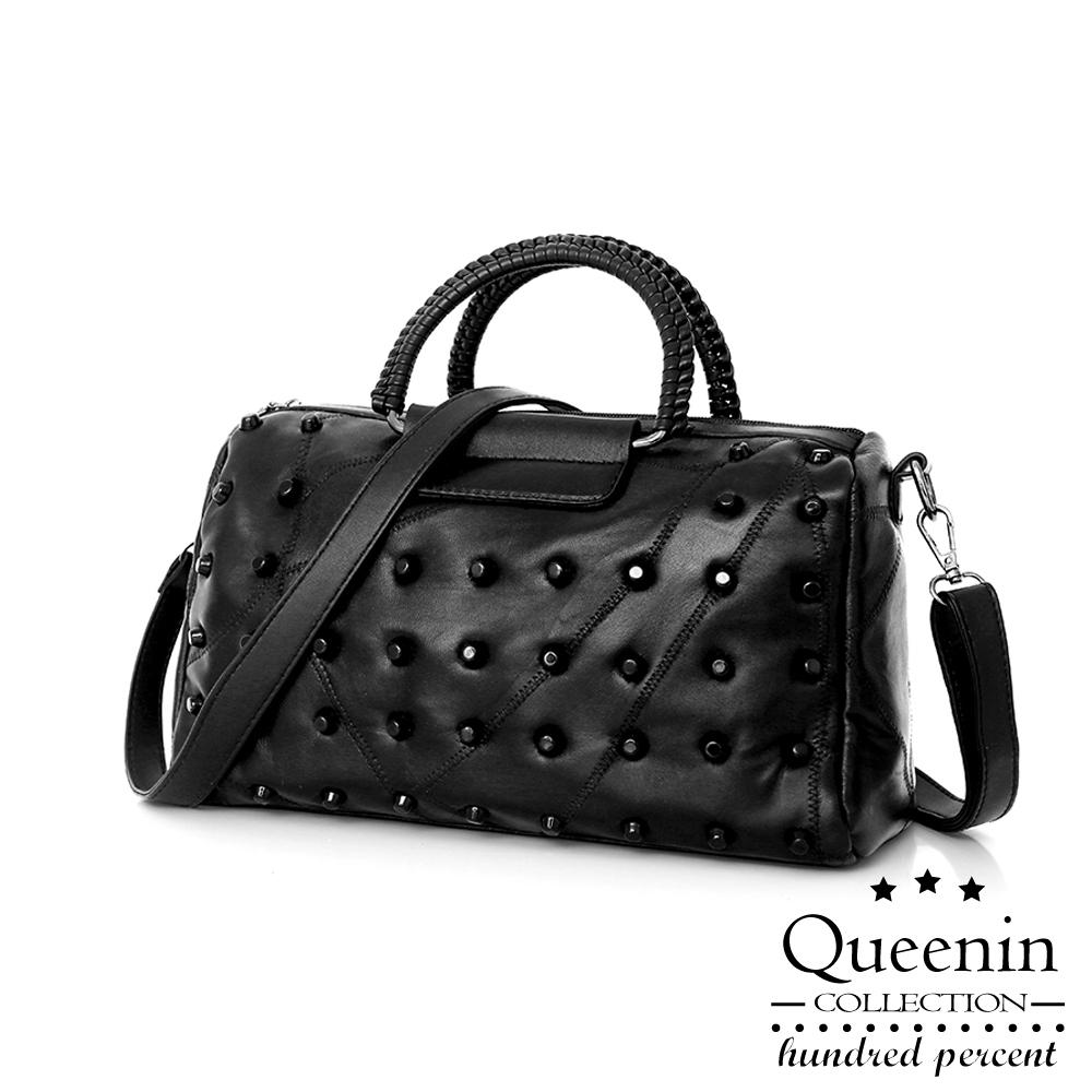 DF Queenin- 黑时尚仿羊皮柔软质感手提斜背2WAY包-共2款