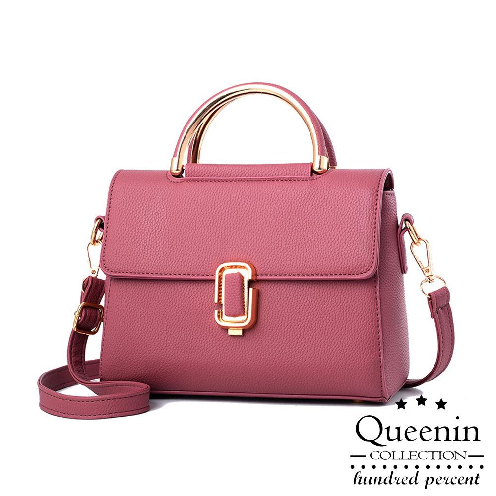 DF Queenin- 甜美人气皮革款手提斜背2用包-共2色