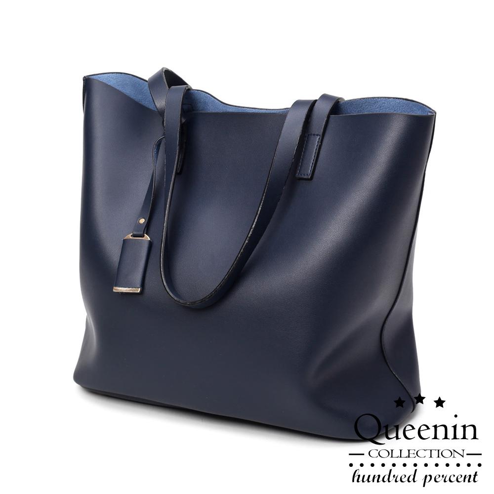 DF Queenin-时尚大作系列仿皮款肩背拖特包-共3色