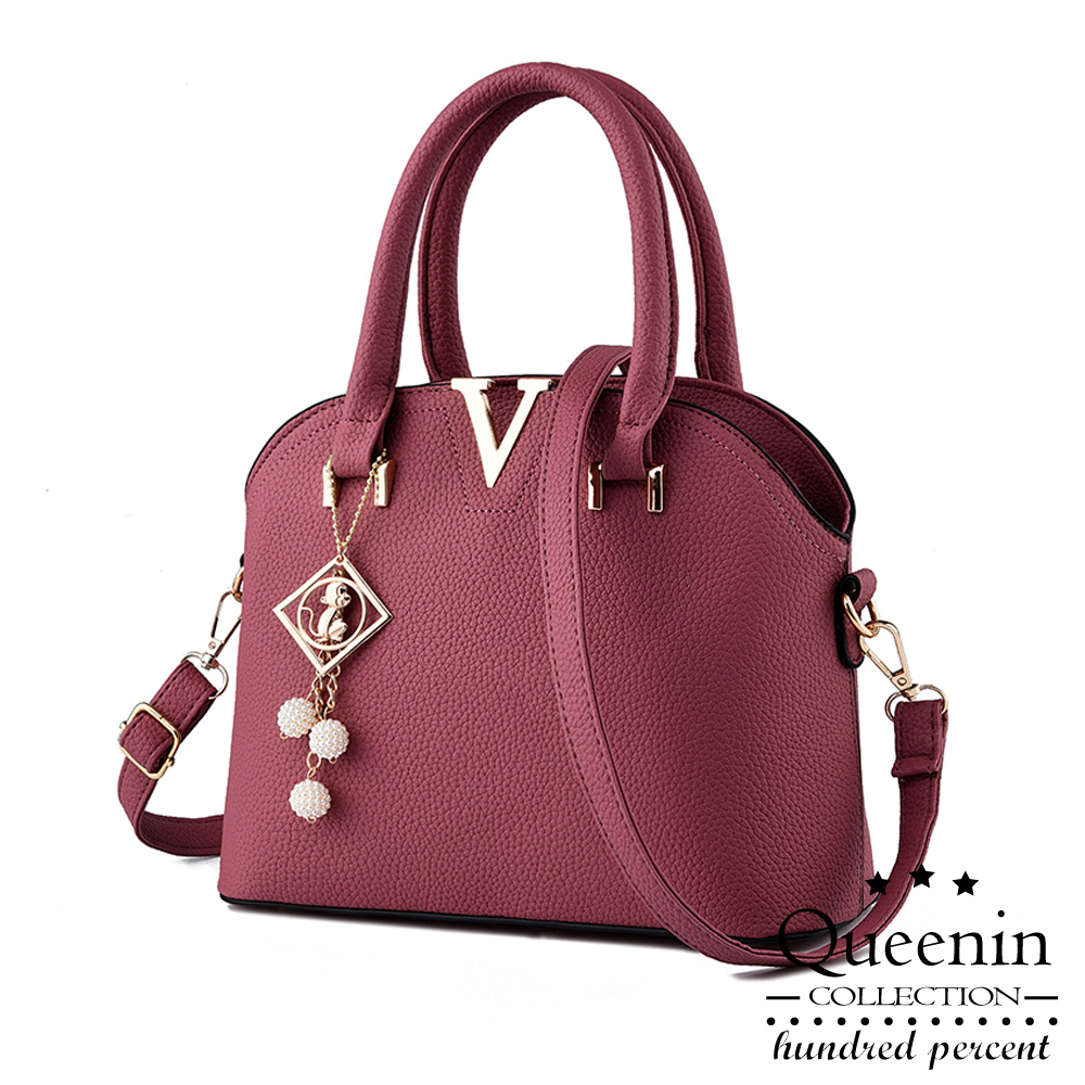 DF Queenin- 维多莉亚时尚系皮革款手提斜背2用包-共2色