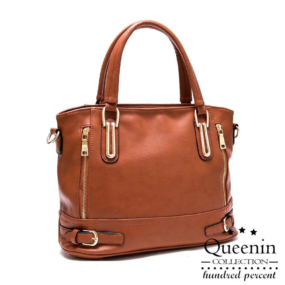 DF Queenin- 日系人气仿皮款气质手提斜背2way包-共2色