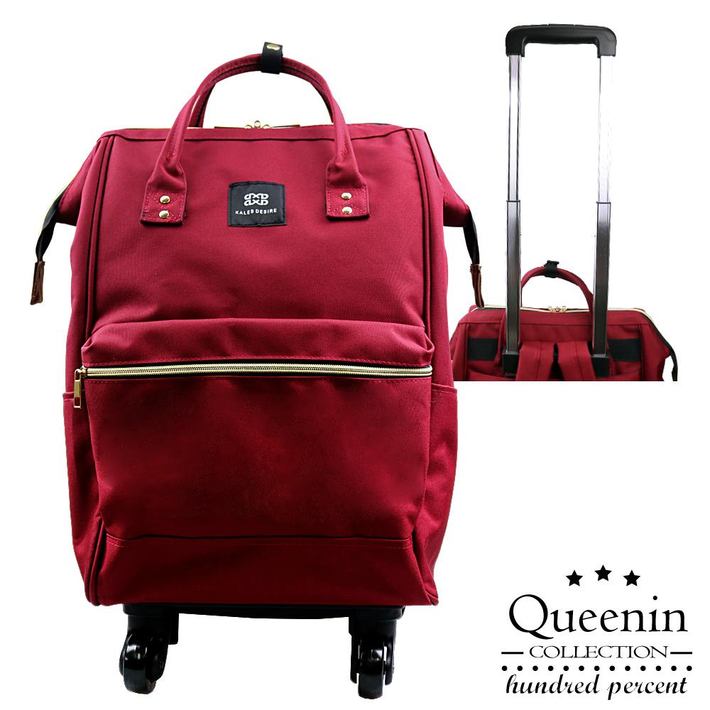 DF Queenin - 日系实用升级版滚轮拉杆款宽口后背包-共3色