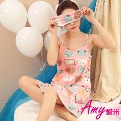 AMY愛米-吊帶日系甜美可愛家居服(AD005)