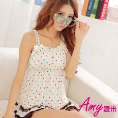 AMY愛米-甜美冰絲圓點家居服套裝(AD014)