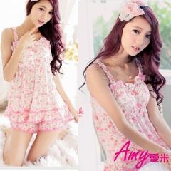AMY愛米-甜美冰絲圓點家居服套裝(AD015)