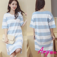AMY愛米-清新公主學生甜美條紋睡衣(AD038)