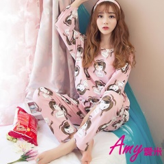 AMY愛米-可愛卡通圖案公主秋冬季家居服女套裝(AD044)