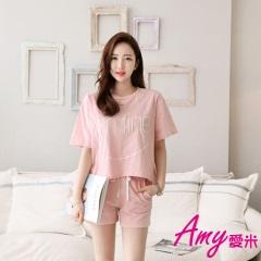 AMY愛米-夏季短袖可愛甜美運動家居服套裝(AD047)