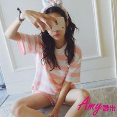 AMY愛米-夏季短袖可愛甜美運動家居服套裝(AD049)