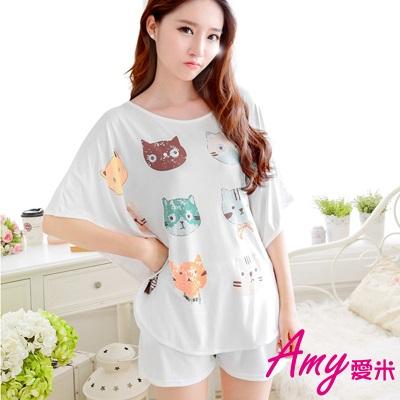 AMY愛米-兩件式可愛貓咪童趣睡衣(AD063)