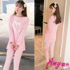 AMY愛米-粉嫩小狗二件式長袖睡衣(AD064)