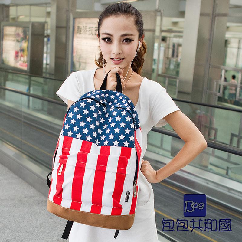 包包共和国-美国国旗帆布时尚流行后背包-B9043