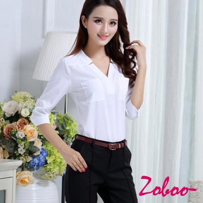 ZOBOO-花邊純棉OL長袖襯衫-OB842