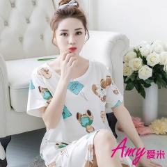 AMY愛米-加大可愛寬鬆短袖睡衣/居家服(AD086)