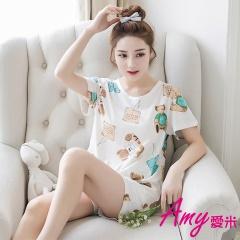 AMY愛米-加大可愛寬鬆二件式短袖睡衣(AD087)