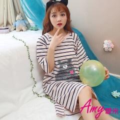 AMY愛米-橫條小熊短袖睡衣/居家服(AD089)