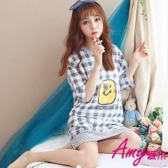 AMY愛米-格紋微笑短袖睡衣/居家服(AD090)