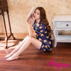 AMY愛米-小熊二件式短袖絲質睡衣/居家服(AD094)