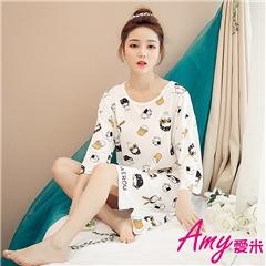 AMY愛米-可愛七分袖睡衣居家服(AD097)