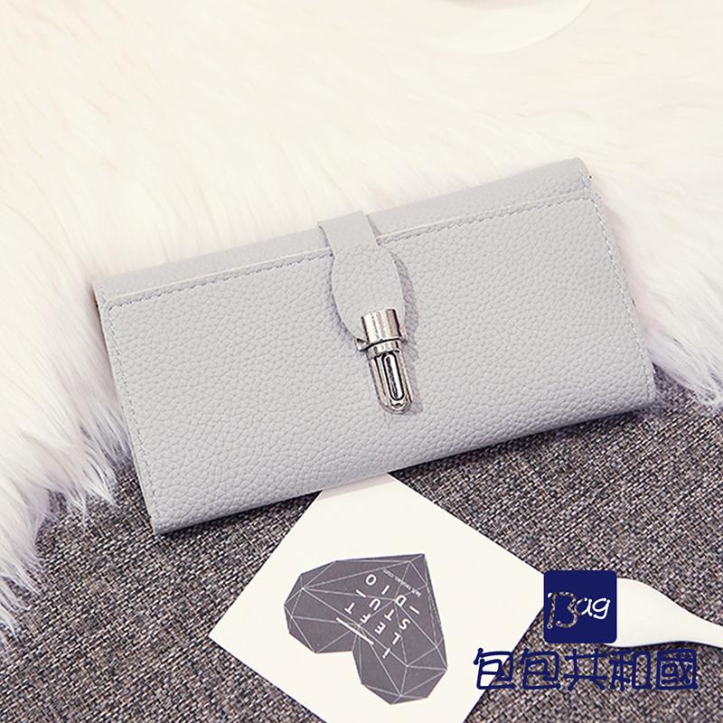 包包共和国-荔枝纹韩版长版三折钱包-B9056