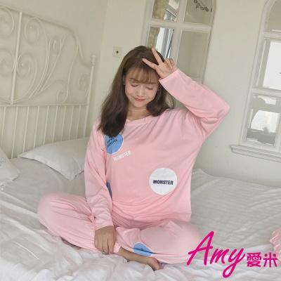 AMY愛米-閨蜜二件式可愛長袖純棉睡衣居家服(AD115)