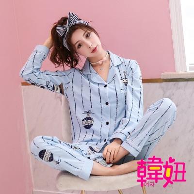 韓妞-可愛插圖風韓國風兩件套家居服-KR060