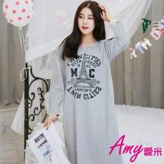 AMY愛米-英文塗鴉風長袖連身裙睡衣(AD129)