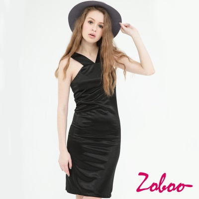 ZOBOO-繞頸直筒洋裝修身洋裝小禮服(Q5019)
