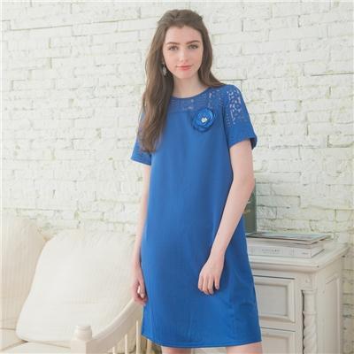 Xmiss氣質優雅拼接洋裝(寶藍色)