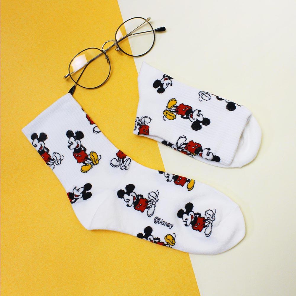 DISNEY 迪士尼满版卡通人物图样中筒袜-米奇