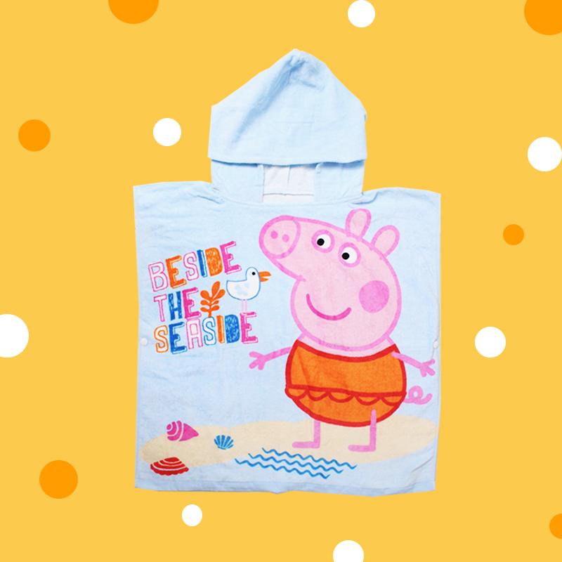 DISNEY 卡通系列连帽浴巾-粉红猪小妹