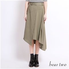 beartwo 圍裹式綁帶不規則剪裁長裙(二色)
