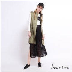 beartwo 透膚感蕾絲開衩綁帶百褶裙(黑色)