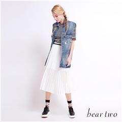 beartwo 鏤空微透百摺長裙(黑色)