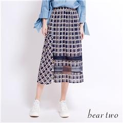 beartwo 格紋拼接網紗雪紡長裙(粉紅)