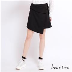 beartwo 金屬圓環圍裹式造型短裙(黑色)