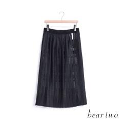 beartwo 微透視格紋開衩百褶長裙(黑色)