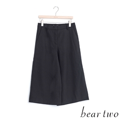 beartwo 素雅簡約西裝滑布打摺寬褲(黑色)