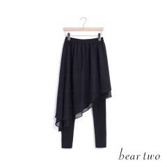 beartwo 雪紡橫紋假兩件式內搭褲裙(黑色)